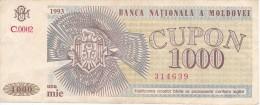 BILLETE DE MOLDOVA DE 1000 CUPON DEL AÑO 1993 (BANKNOTE) - Moldova