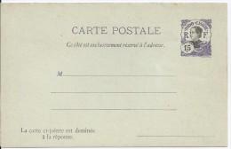 INDOCHINE - ENTIER POSTAL CARTE POSTALE 12 - 15 VIOLET CARTE COMPLETE AVEC REPONSE PAYEE - Briefe U. Dokumente