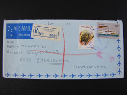 """AUSTRALIA -1974- """"Historia Postal"""" VICTORIA>EMSKIRCHEN (descrizione) - 1966-79 Elizabeth II"""