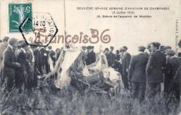 (51) Grande Semaine D'Aviaton De Champagne Juillet 1910 Débris De L'appareil Wachter - Aviateur Avion - 2 SCANS - France