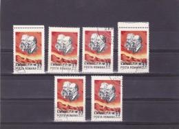 Karl Marx & Lenin 1965 Stamps X6 USED Romania. - Karl Marx