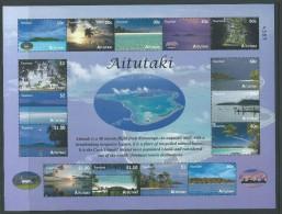 Aitutaki 2010 Tourism Island Views Sheet Of 15 MNH With Numbers - Aitutaki