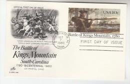 1980 King Mountain USA Postal STATIONERY CARD FDC Illus FERGUSON GUNS BATTLE KINGS MOUNTAIN HORSE Stamp Cover Gun - Postal Stationery