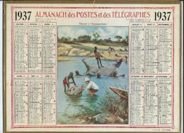 Almanach Des Postes Et Des Télégraphes 1937- Chasse à L´Hippopotame  - Dos Carte  Des Chemins De Fer - Calendari