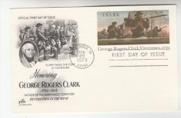 1978 Vincennes USA Postal STATIONERY CARD FDC Illus GEORGE ROGERS CLARK FORT VINCENNES GUNS Stamps Cover Gun - Postal Stationery