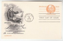 1978 Quincy  USA Postal STATIONERY CARD (black)  FDC Illus JOHN HANCOCK  CONTINENTAL CONGRESS Stamps Cover - Postal Stationery