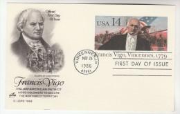 1986 Vincennes USA Postal STATIONERY CARD FDC Illus FRANCIS VIGO CLARK VINCENNES FLAG GUNS Stamps Cover Gun - Ganzsachen