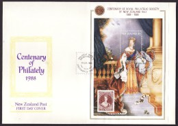 New Zealand #889 S/sheet F-VF Unaddressed Cacheted FDC - Queen Victoria (1988) - FDC