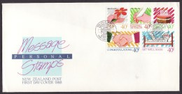 New Zealand #902a F-VF Unaddressed Cacheted FDC - Greetings Messages (1988) - FDC