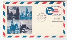 1966 Washington USA AIRMAIL Postal STATIONERY CARD FDC Illus VISIT USA FLAG MOUNTAIN TREE NATIVE INDIAN Stamps Cover - Postal Stationery