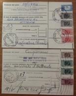 Storia Postale Italia Repubblica Pacchi Postali 2 Bollettini Di Spedizione - 6. 1946-.. Repubblica