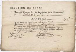 Rodez,1736, Centrès, Centrez, élection De Rodez, Récépissé,,impositions De La Communauté, Pierre Boyer, Quittance - Historical Documents