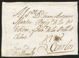G)1800 PERU, 2 REALES MANUSCRIPT, COLONIAL MAIL FRONT COVER CIRCULATED TO CHILOE, XF - Peru