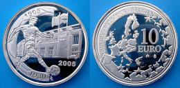 BELGIUM 10 E 2005 ARGENTO PROOF SILVER EURO 1905-1930 FOOTBAL NETHERLAND-BELGIE PESO 18,75g TITOLO 0,925 CONSERVAZIONE F - Belgio