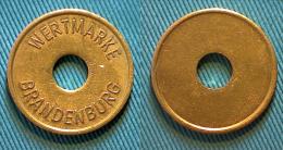 01746 GETTONE JETON TOKEN WERTMARKE BRANDEBURG HOLED - Duitsland