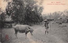 "04921 ""TONKIN - VIETNAM - LABOUREUR SE RENDANT AUX CHAMPS"" ANIMATA. CART. POST. ORIG. NON SPEDITA. - Vietnam"