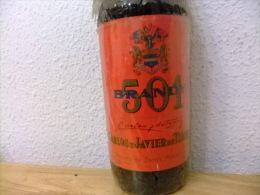 ANTIGUA BOTELLA BRANDY 501 ETIQUETA ROJA VINTAGE Año 1977 Un Litro - Licor Espirituoso