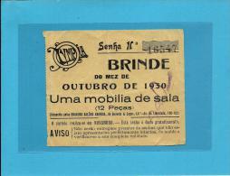 Lisboa - 1930 - Olympia - Brinde - Sorteio De Uma Mobília De Sala - Portugal - Billets De Loterie