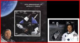 BHUTAN 1999 = APOLLO SPACE PROGRAM S/S + M/S 30 ANNIVERSARY  MNH ** FREE POSTAGE Is POSSIBLE - Bhután