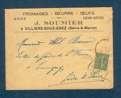 Enveloppe Fromages Beurre Oeufs Villiers Sous Grez (Seine Et Marne)-Destination Tauxigny - 1877-1920: Semi Modern Period
