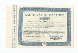 Certificat De Garantie , Machine à Coudre ATHOS , 1950 , G, Dollard , Hirson , Aisne ,   Frais Fr : 1.55€ - Vieux Papiers