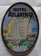 Etiquette D´Hotel - HOTEL ATLANTICO  - Cadiz Espana Espagne -  Etiqueta - Etiquetas De Hotel