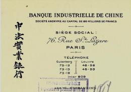 BANQUE  INTERNATIONALE ENTETE BANQUE INDUSTRIELLE DE CHINE  SHANGHAI  ET PARIS DOUBLE SIGNATURE 1929 B.E.V.SCANS+HIST - 1900 – 1949