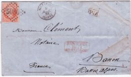 1868 - Lettre D'Alexandrie / Egypte  Affr. N° 24 Oblit. G C 5080 + PAQUEBOT /DE LA / MEDITERRANEE - Poste Maritime