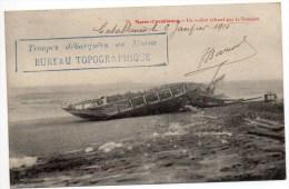 """1915 - CP De CASABLANCA Avec CACHET """"TROUPES DEBARQUEES AU MAROC BUREAU TOPOGRAPHIQUE"""" // UN VOILIER ECHOUE PAR TEMPETE - Briefe U. Dokumente"""