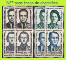 N° 1157 à 1160 - HÉROS DE LA RÉSISTANCE 1958  - EN DOUBLE EXEMPLAIRE N** SANS CHARNIÈRE NI TRACE - France