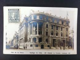 CLUB DE LA UNION SANTIAGO DE CHILE LIBRERIA LA PORTEÑA AHUMADA POSTAL CIRCULADA A VALENCIA 1930 - Chile