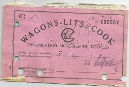 TICKET     WAGONS    LITS   COOK - Sin Clasificación