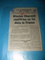 Tract 1939 / 1945  Winston CHURCHILL Réaffirme Sa Foi Dans La France  Le Courrier De L'Air  * - 1939-45