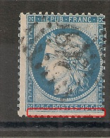 FILET SUD DEFORME, CERES 25C Type II, N° 60 B, A PLANCHER. - 1871-1875 Ceres