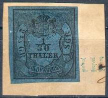 Oldenburg, Briefstück MiNr.2III O, Vollrandig, Pracht, Geprüft - Oldenburg