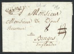 """L Datée De Libin 1790 Marque BOUILLON + """"8"""" Pour Bruges. RR - 1789-1790 (Brabant Revolution)"""