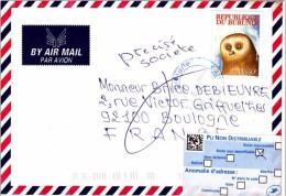 A] Enveloppe Cover Burundi Vers France En Retour Hiboux Owl Bird Of Prey Rapace - Unclassified