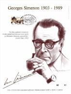 60011i - Carte Souvenir Simenon Feuillet D´art - Belgique - Cob 2579 N°52 Sur 500 Sur Presses à Main Doré à L´or Fin 23 - Cartes Souvenir