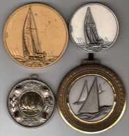 Lot De 4 Médailles Sport Voile Yacht - France