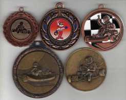 Lot De 5 Médailles Sport Go-cart - France