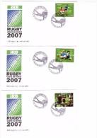 France 10 Enveloppe Premier Jour Serie Complète Rugby Coupe Du Monde 2007 93 Saint Denis IRB - Rugby