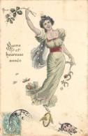 BONNE ET HEUREUSE ANNEE -  Cochon, Thème Chance,carte Signée Hoffer. - Cochons