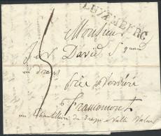 """L 1823 Marque LUXEMBURG """"échantillon De Drap Nulle Valeur"""" + """"5"""" Pour Verviers - 1815-1830 (Dutch Period)"""