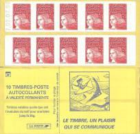 """CARNET 3085a-C 3 Marianne Du 14 Juillet TVP Type II """"LE TIMBRE UN PLAISIR QUI SE COMMUNIQUE"""" Daté 02.07.98 TRES RARE - Carnets"""