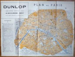 CARTE DE FRANCE Et PLAN DE PARIS Ancien DUNLOP - Karten
