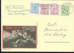 Publibel Obl. N° 2421 ( Han/ Lesse; Grottes; Tennis; Camping; Musée) Obl: Antwerpen + Flamme: Salon Des Vacances 1975 - Stamped Stationery