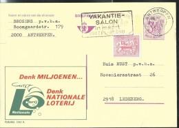 Publibel Obl. N° 2542 + P 010  (Nationale Loterij) Obl: Antwerpen + Flamme - Publibels