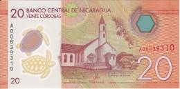BILLETE DE NICARAGUA DE 20 CORDOBAS DEL AÑO 2014 (TORTUGA-TURTLE) (BANK NOTE) SIN CIRCULAR-UNCIRCULATED - Nicaragua