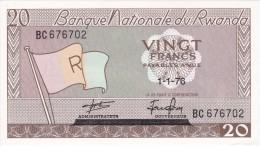 BILLETE DE RWANDA DE 20 FRANCS DEL AÑO 1976  (BANKNOTE) SIN CIRCULAR-UNCIRCULATED - Rwanda