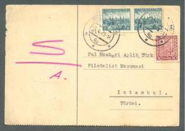 1939 CZECHOSLOVAKIA TO TURKEY POSTCARD USED - Postal Stationery